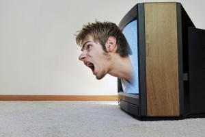 Man coming out of TV smart TV speech recognition