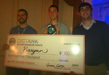 Toni Gamayell, Travis Staton, and TJ Weigel of Banyan are the big winners for Best Entrepreneur Team.