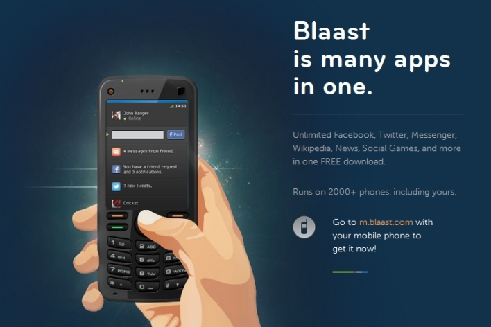 Screenshot of Blaast homepage