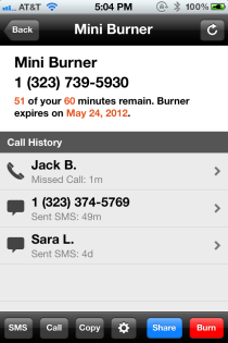 Burner app burn cell numbers