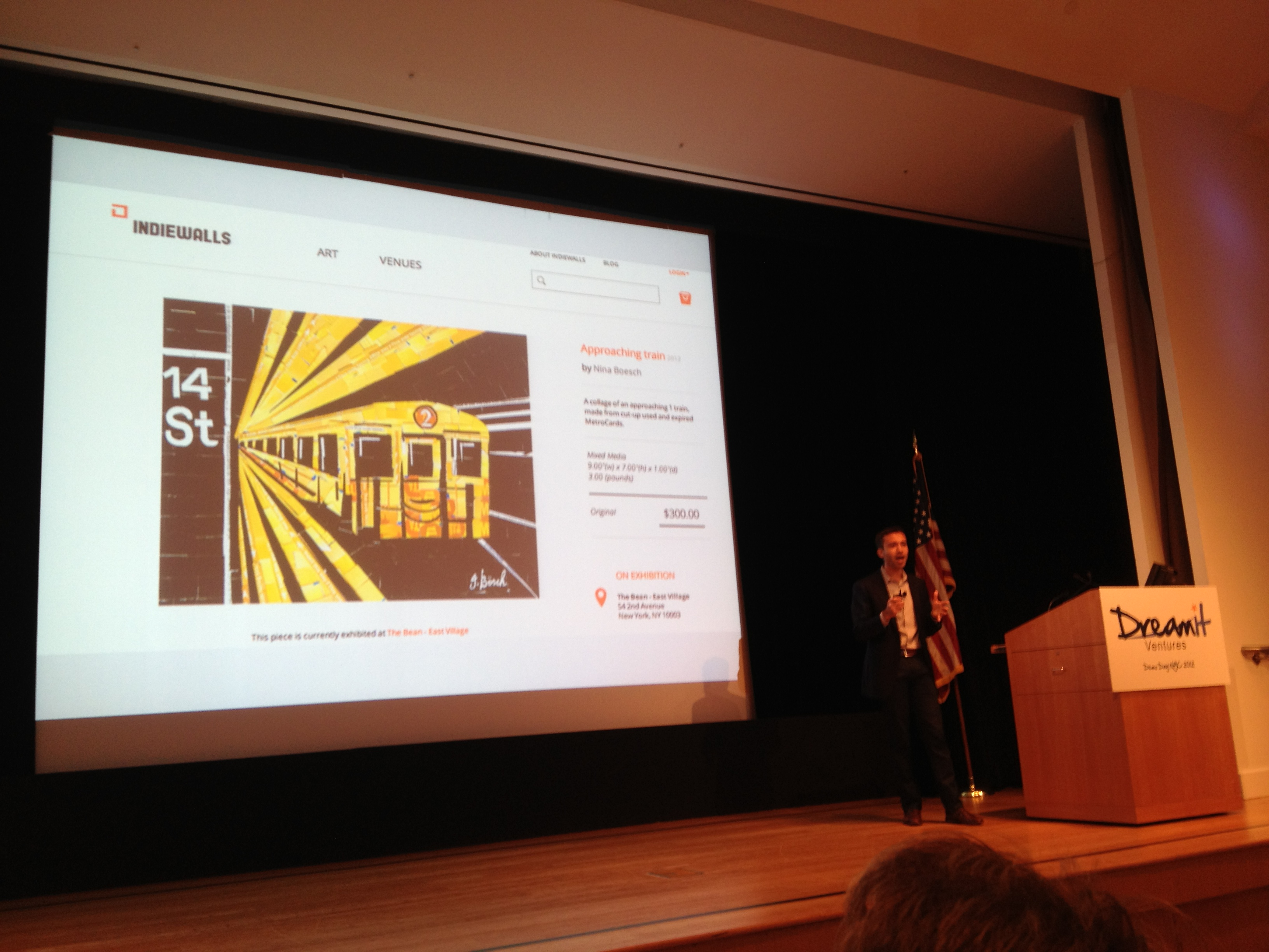 IndieWalls founder and CEO Gavriel Wolf on stage at Dreamit Ventures NYC demo day.