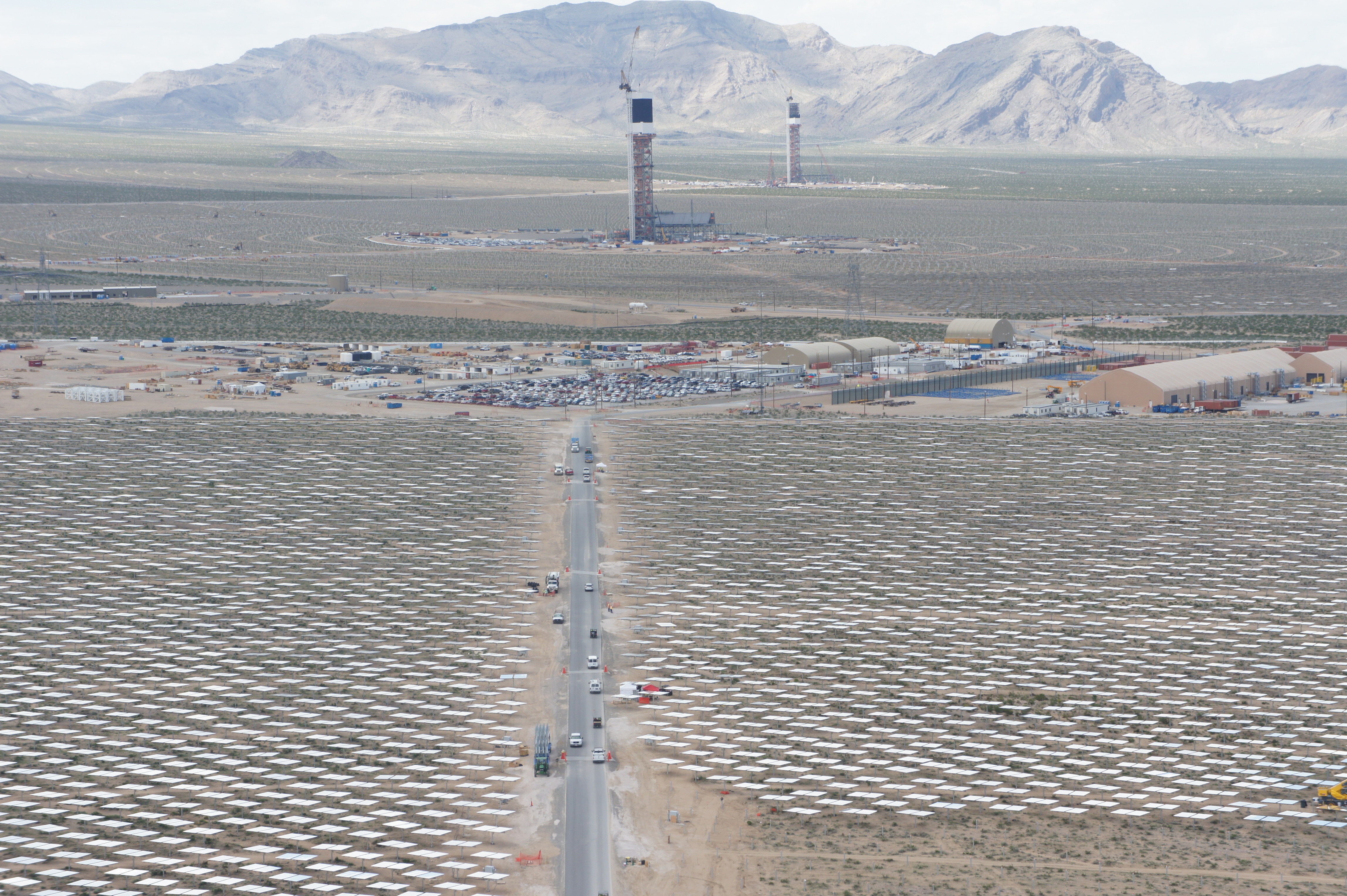 An aerial view of Ivanpah with towers 2 and 3 in the background