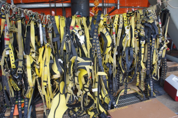Stacks of harnesses on the viewing platform, 9 stories up