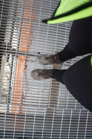 Steel toe boots, courtesy of BrightSource, standing on the viewing tower