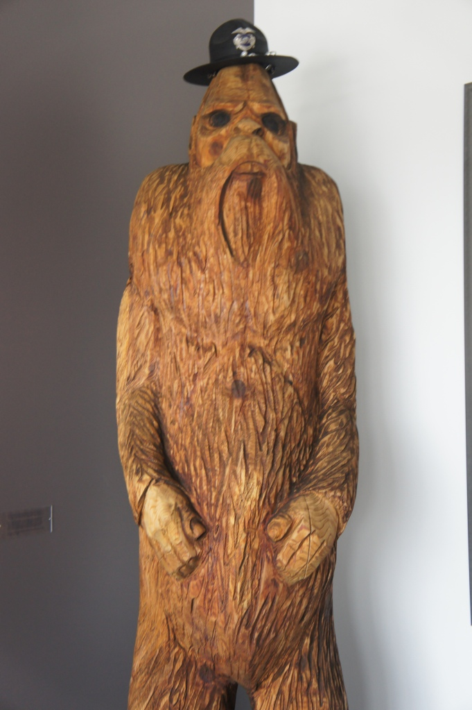 Sasquatch watches over the lobby of Facebook's data center in Oregon