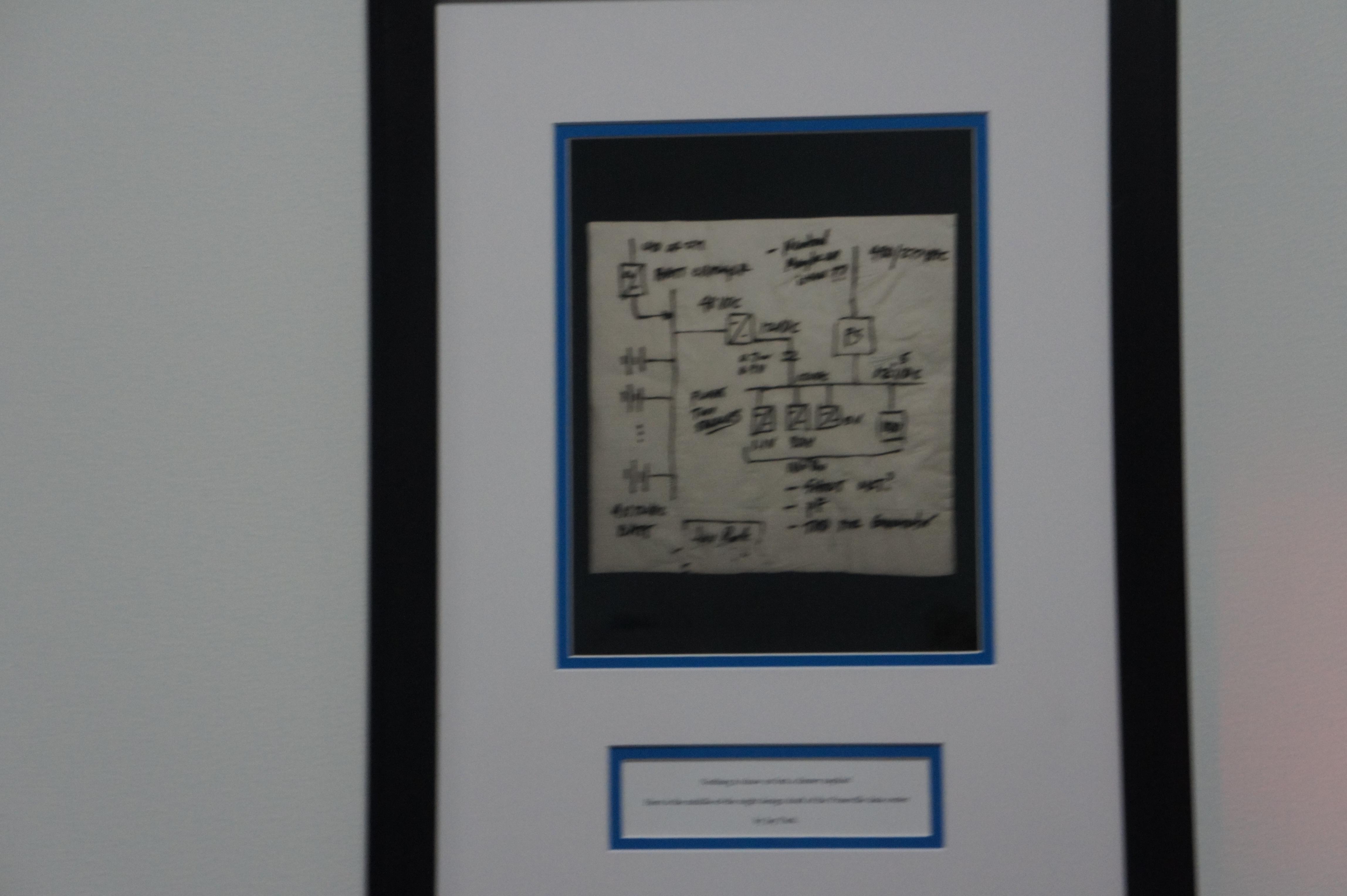Napkin of original design of power plan for Facebook data center