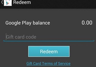 Google Play store with gift card redemption