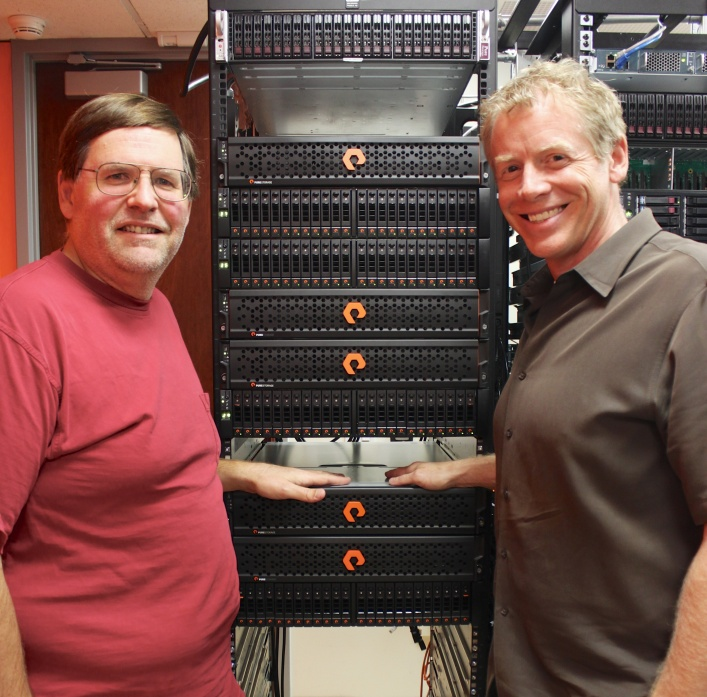 Pure Storage CTO John Colgrove (left) and CEO Scott Dietzen.