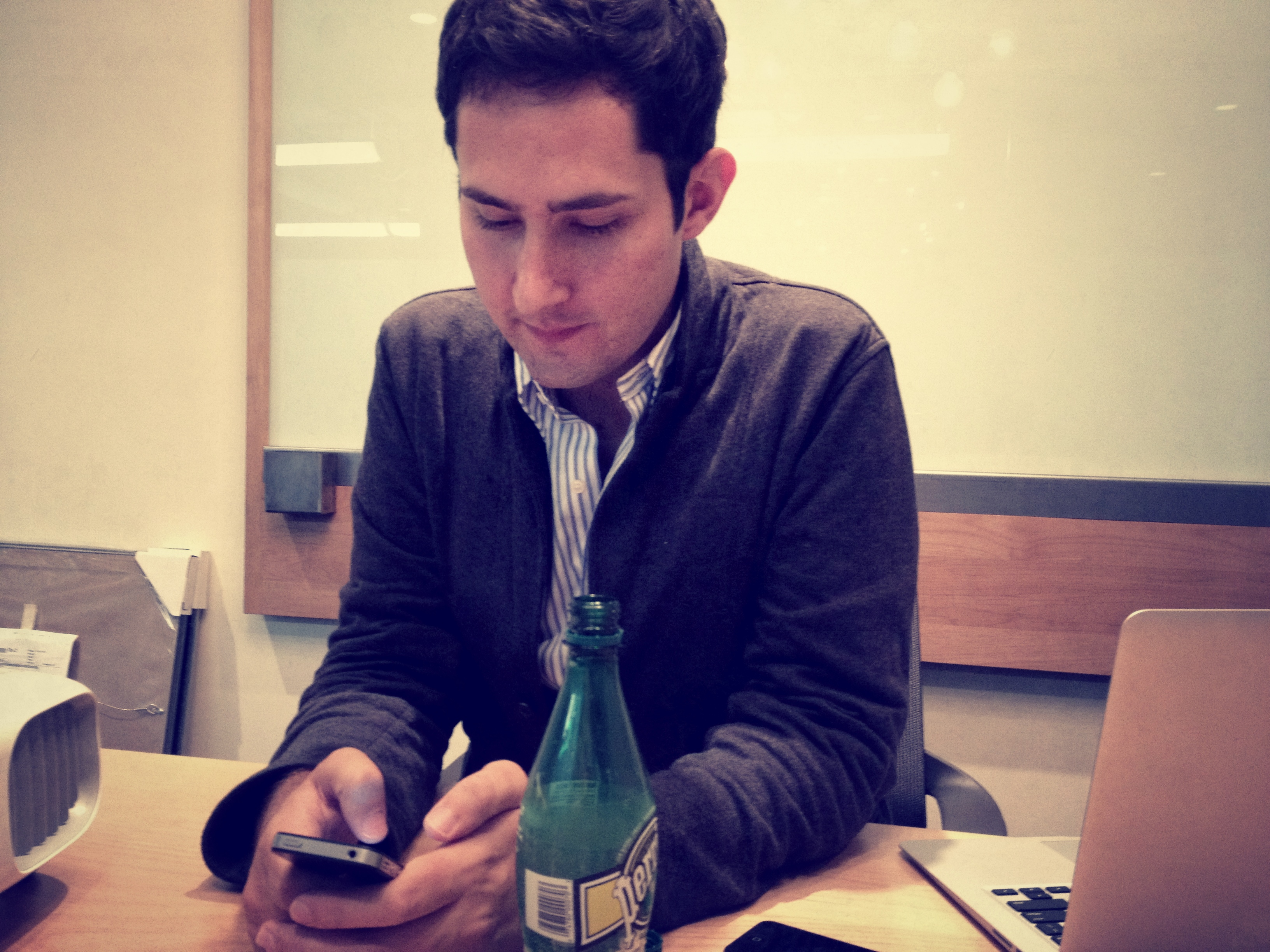 Instagram CEO/co-founder Kevin Systrom shows off version 3.0.