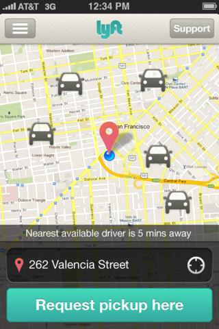 Lyft Zimride car-sharing real-time app
