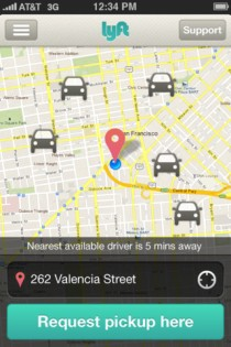 Lyft Zimride car-sharing real-time app