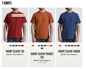American-Giant sells only three tshirt designs for men.