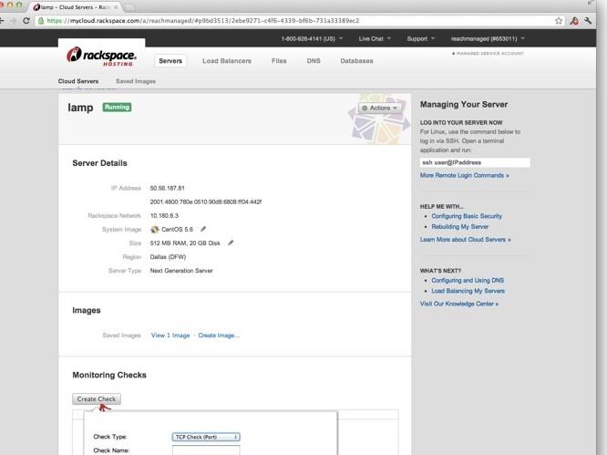 Rackspace cloud monitor screenshot