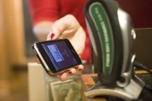 Starbucks barcode-reading mobile transaction system (source: Starbucks)