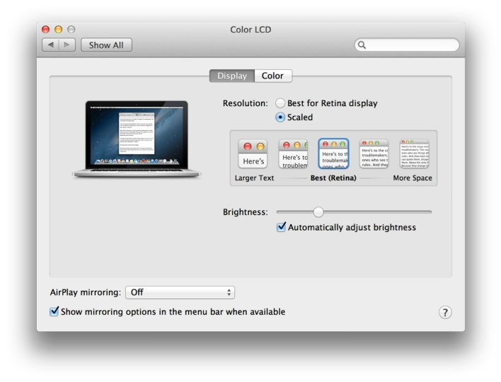 System Preferences for Display