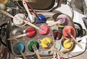 palette, paint, colors