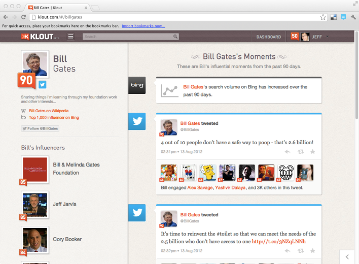 Bill Gates Klout Microsoft Bing partnership