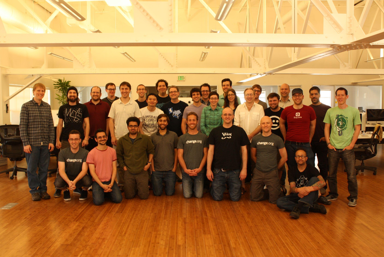Change.org engineering staff circa 2012.