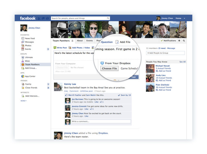 Dropbox Facebook file-sharing screenshot