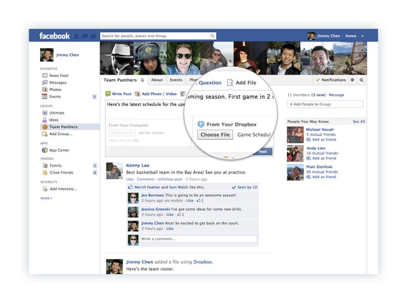 Dropbox Facebook file-sharing screenshot