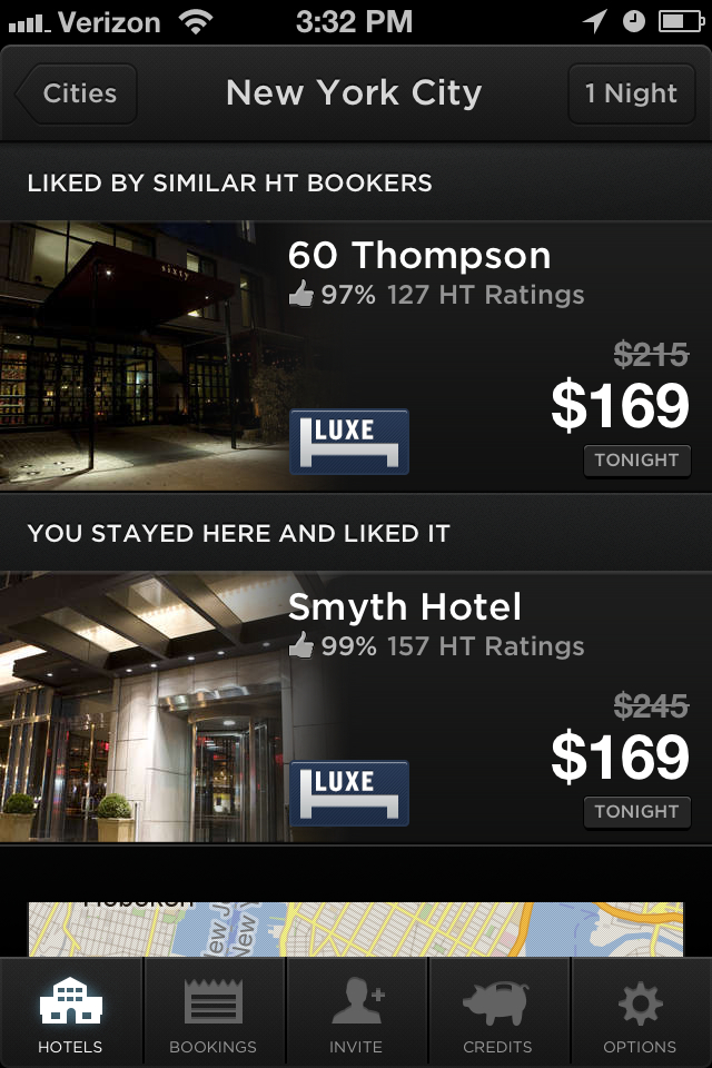 Hotel Tonight recommendations