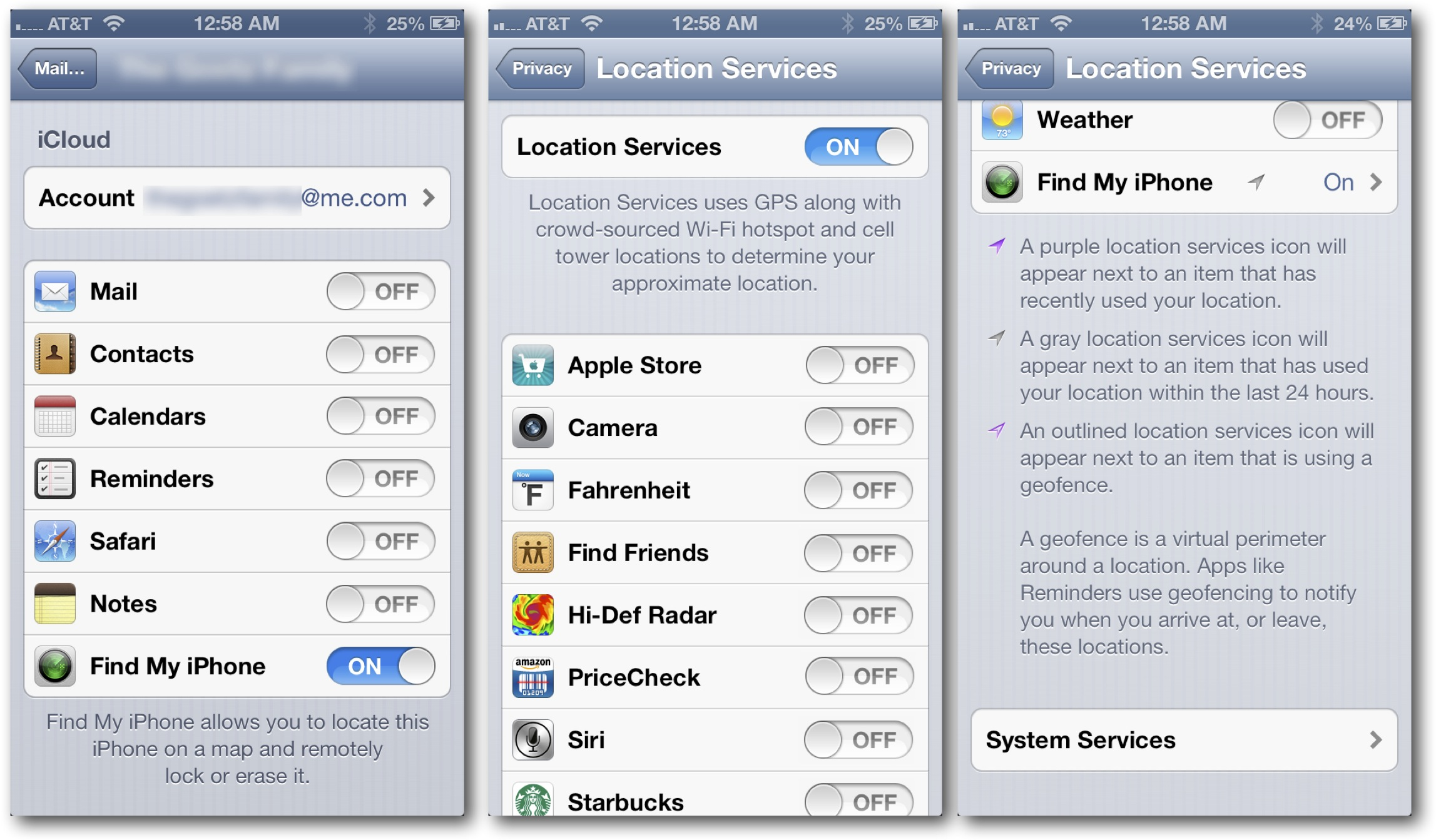 iOS Find My Settings