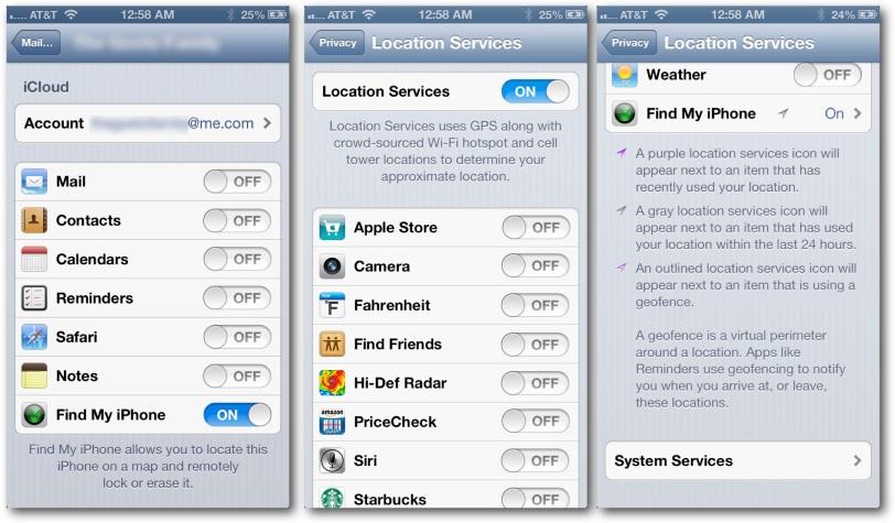 iOS Find My Settings