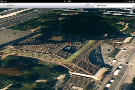 iOS 6 Maps showing Eiffel Tower