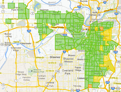 "A map of Google's ""fiberhoods"" that qualified for gigabit access."