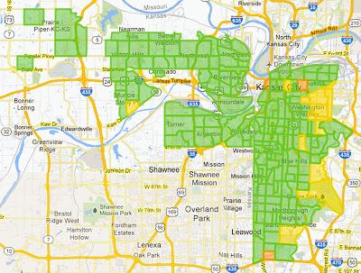 """A map of Google's """"fiberhoods"""" that qualified for gigabit access."""