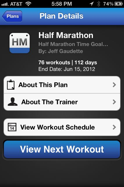 RunKeeper training plan
