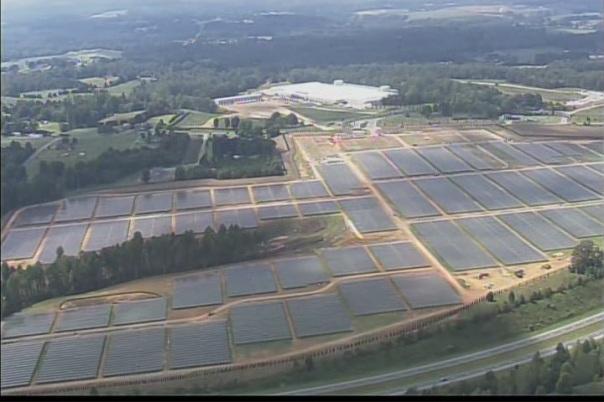 Apple's massive solar farm in North Carolina, photo by WCNC-TV