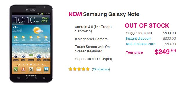 T-Mobile's Galaxy Note out of stock soon after launch