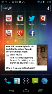 Quora Android screenshot widget