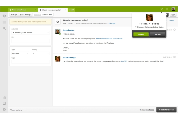 Zendesk call screen