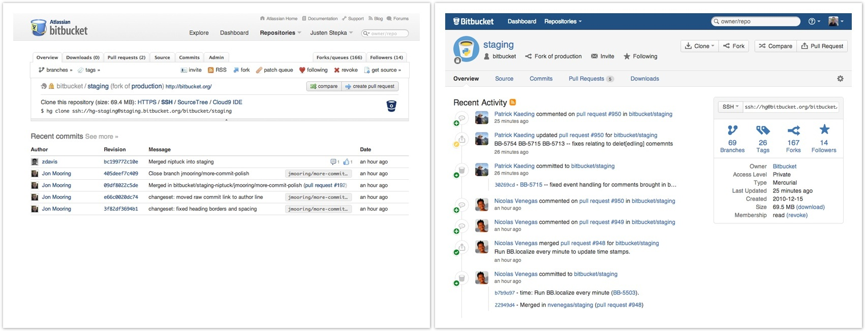 Bitbucket user interface before (left) and after.