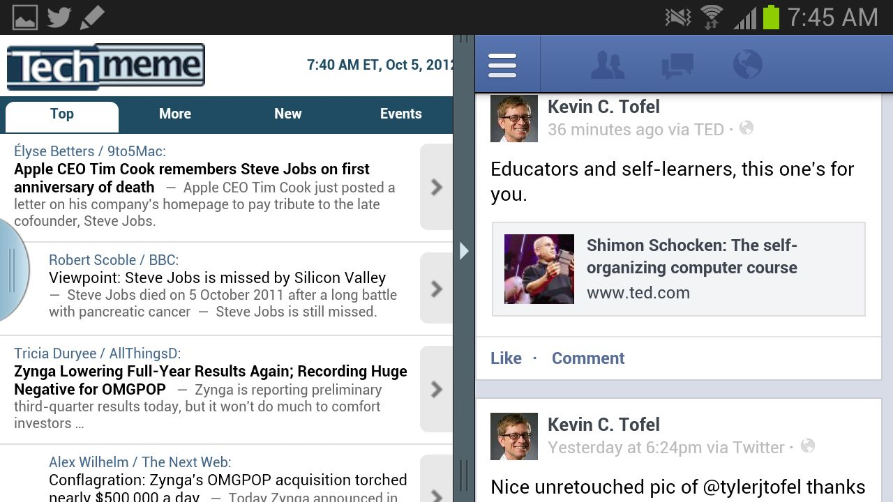 Browser and Facebook on Galaxy Note 2