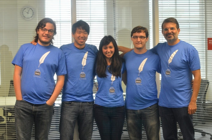 Quora top writers pose in their tshirts. From left to right, they are: David Cole, Alex Wu, Kat Li, John Clover, Marc Bodnick.