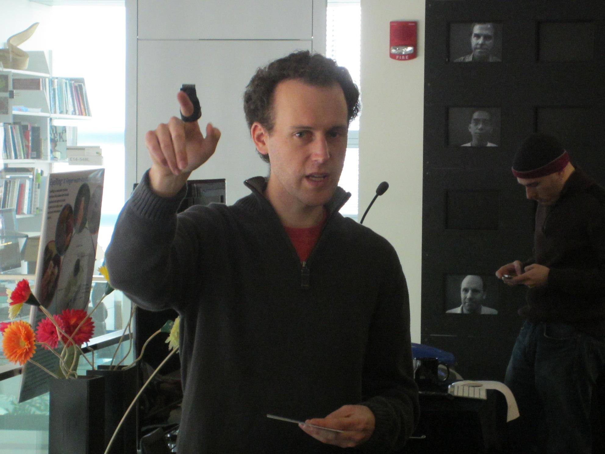 MIT's Roy Shilkrot wearing EyeRing.