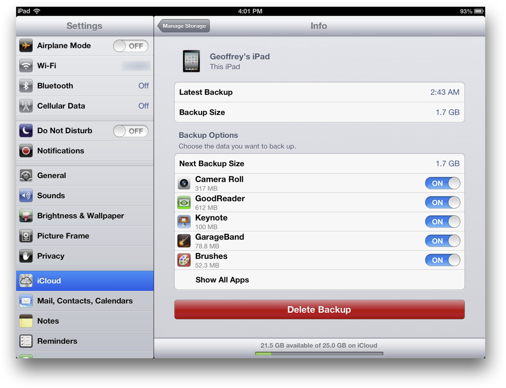 Individual App Backups