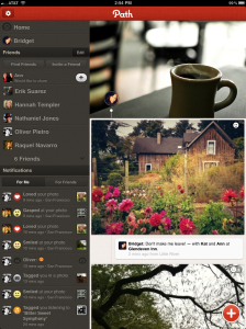 Path iPad app vertical screen photos
