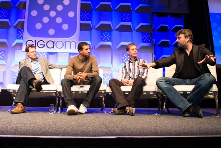 (L to R) Bart Copeland, CEO, ActiveState; Ruben Daniels, Co-Founder and CEO, Cloud9 IDE; Johan den Haan, CTO, Mendix; Richard Nicholson, CEO and Founder, Paremus; at Structure Europe 2012