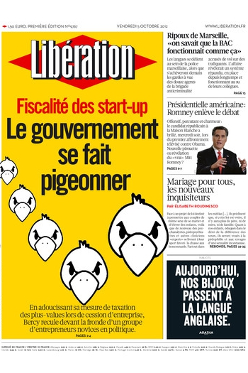 Liberation front page - Les Pigeons
