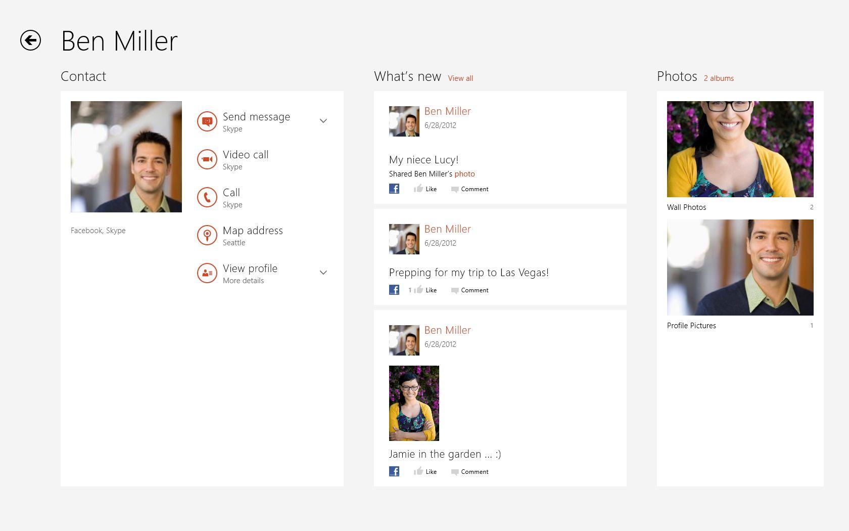 Skype integration in People hub