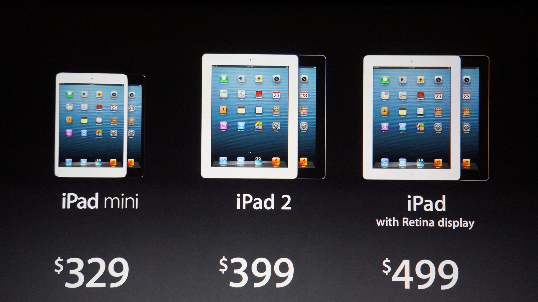 Apple iPad lineup October 2012 iPad Mini event