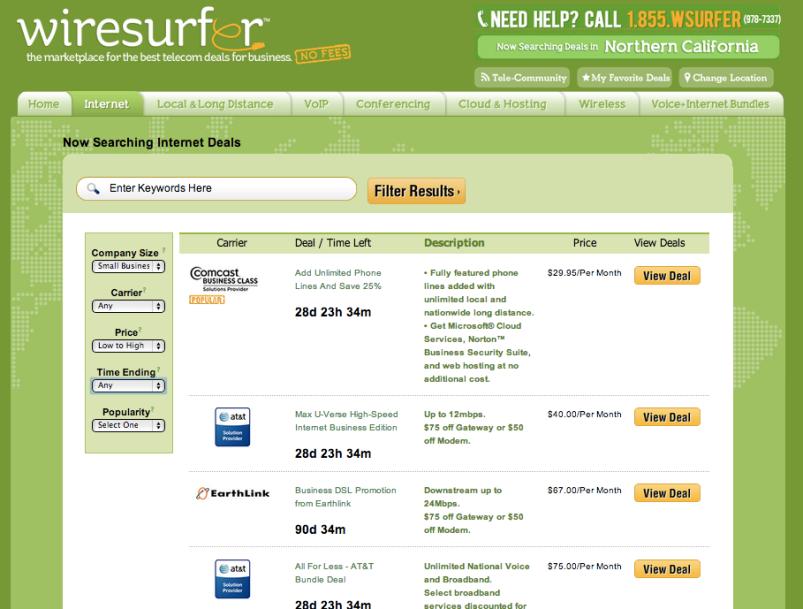 Wiresurfer telecom startup compare internet prices screenshot