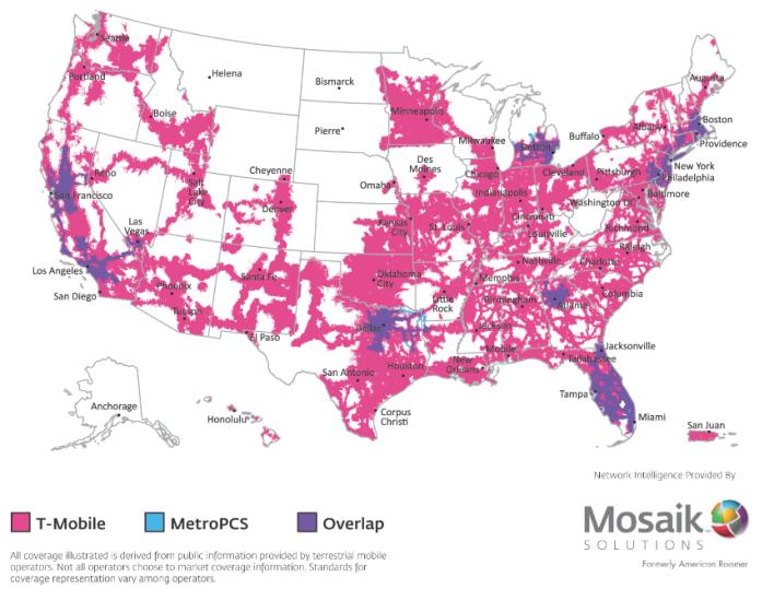 Mosaik MetroPCS T-Mobile network overlap