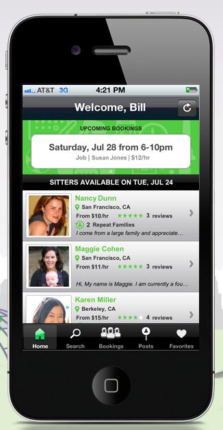 UrbanSitter mobile app