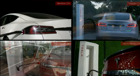 Tesla chargers, image courtesy of Tesla.