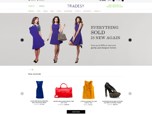 Tradesy clothing resale homepage screenshot